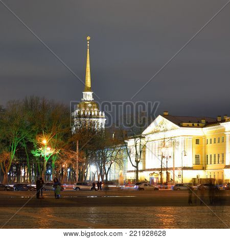 Admiralty and Palace Square in St.Petersburg at night, Russia.