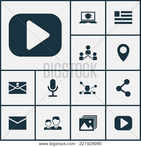 Internet icons set with community, form, partnership and other publish elements. Isolated vector illustration internet icons.