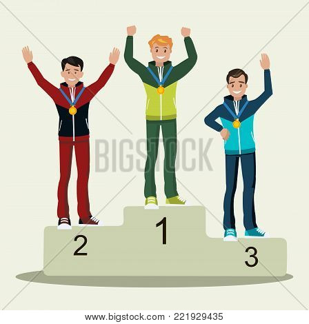 Awards ceremony. Three athletes with medals on the pedestal. The sit flat.