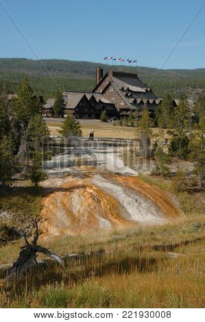 Built in 1903 from logs and local stone, in the geyser basin at Yellowstone National Park