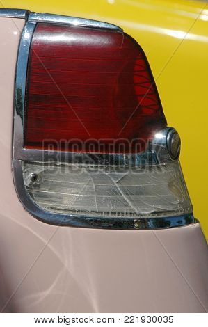Fifties streamlined tail light detail, antique custom