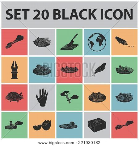 Cooking food black icons in set collection for design. Kitchen, equipment and tools vector symbol stock  illustration.