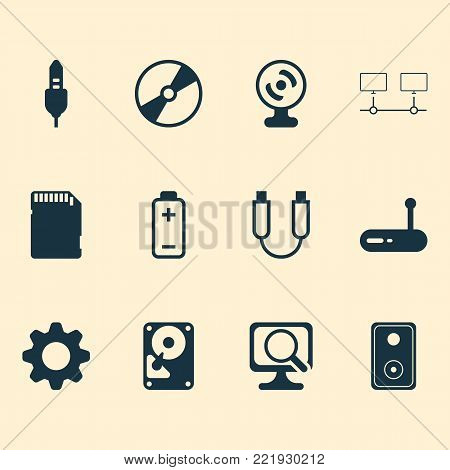 Computer icons set with hdd, connected devices, memory card and other portable memory elements. Isolated vector illustration computer icons.