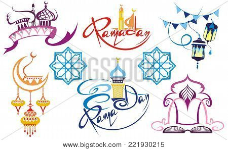 Set of emblems for islamic holy holiday Ramadan. Ramadan traditions. Ramadan greeting.