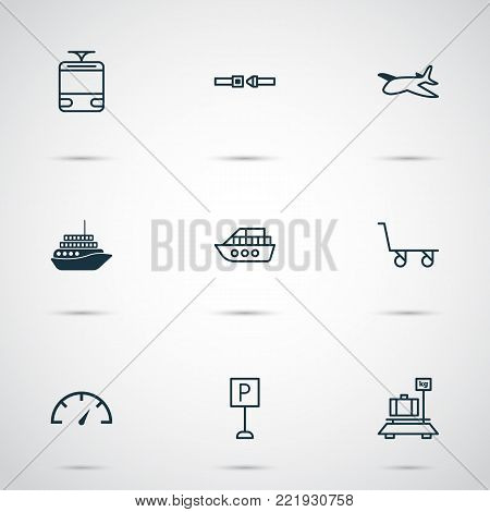 Shipping icons set with roadsign, safety belt, boat and other boat elements. Isolated vector illustration shipping icons.