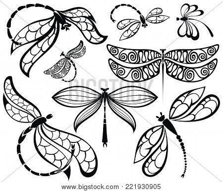 Set of black silhouettes dragonflies. Silhouettes dragonflies tattoo