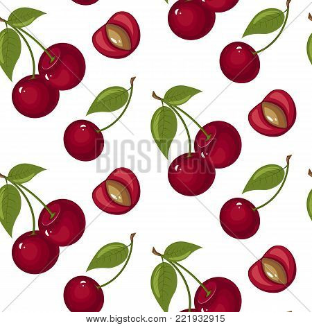 Cute cherry seamless pattern. Good for textile, wrapping, wallpapers. Sweet red ripe cherries isolated on white background. Vector illustration.