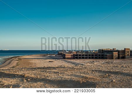 The unfinished building of the hotel on the shores of the Red Sea in Sharm El Sheikh.