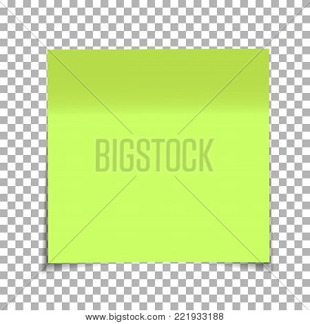 Office green paper sticky note isolated on transparent background. Post on sticky tape. Template for your projects. Vector illustration