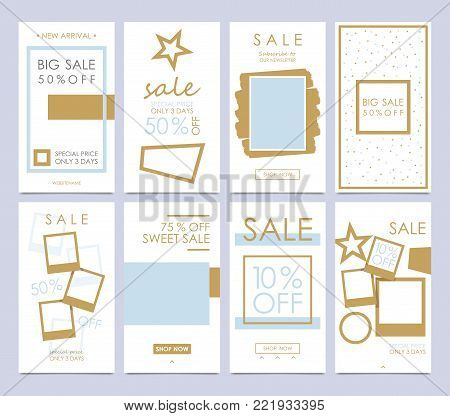 Set mobile sale banners. Stories Templates is a powerful social media tool that will increase your engagement, and grow your business. Beautify your stories easily. Insert your photos and changing the existing text. Vector illustration.