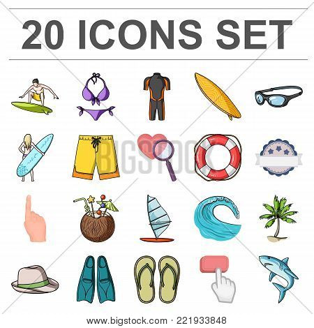 Surfing and extreme cartoon icons in set collection for design. Surfer and accessories vector symbol stock  illustration.