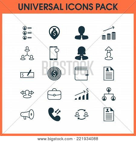 Resources icons set with businesswoman, increase, briefcase and other reverse elements. Isolated  illustration resources icons.