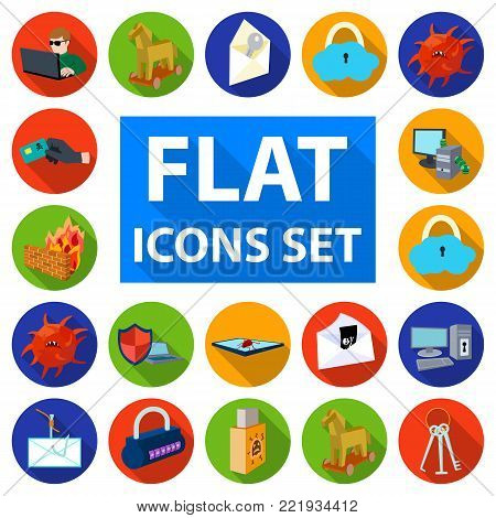 Hacker and hacking flat icons in set collection for design. Hacker and equipment vector symbol stock  illustration.