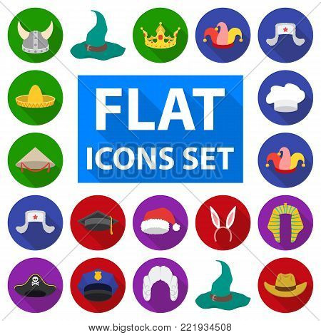 Different kinds of hats flat icons in set collection for design.Headdress vector symbol stock  illustration.