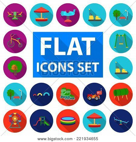 Playground, entertainment flat icons in set collection for design. Attraction and equipment vector symbol stock  illustration.