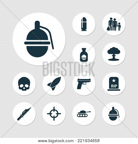 Combat icons set with weapons, missile, target and other weapons elements. Isolated  illustration combat icons.