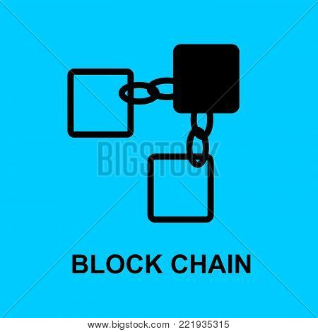 Block chain flat icon. Block chain symbol.. Vector Illustration. Block Chain Technology Concept.