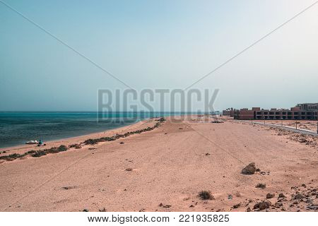 The unfinished building of the hotel on the shores of the Red Sea in Sharm El Sheikh