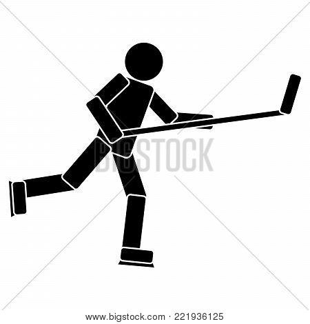 Hockey Player icon on white background. Vector illustration