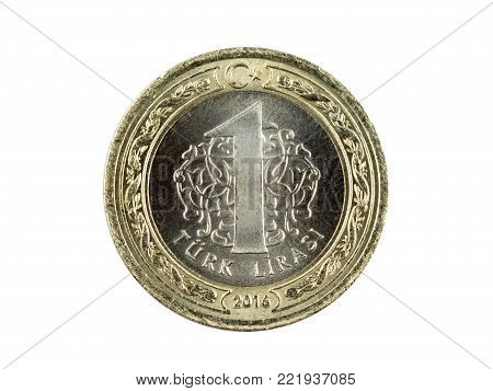 a metal turkish lira front face, insulated with white color, close-up