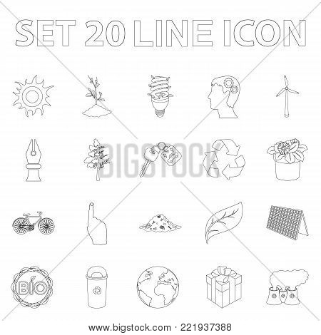 Bio and ecology outline icons in set collection for design. An ecologically pure product vector symbol stock  illustration.
