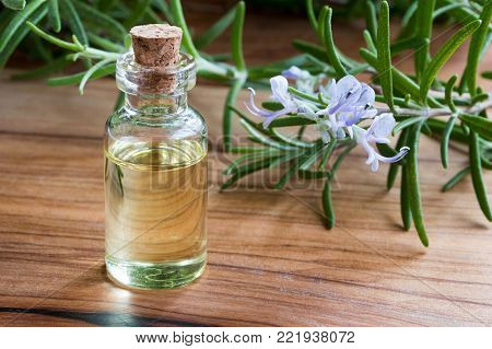 A bottle of rosemary essential oil with fresh blooming rosemary twigs on a wooden background