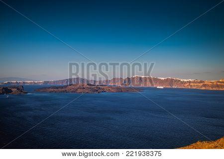 Beautiful Santorini sea view facing the center of volcano, Nea Kameni, Cyclades, Greece