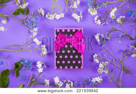 Violet Gift Box Surrounded With Blue And White Little Flowers On Purple Background