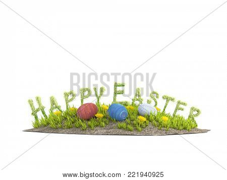 3D rendering of little grass island with yellow flowers, Easter eggs and Happy Easter text on white background