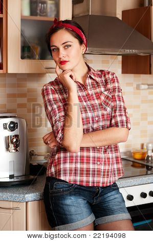 Sexy Houswife In Thte Kitchen