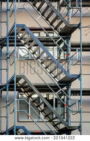 framework and stairway at building sitel, no workers to see