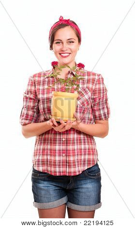 Happy Housewife In Kerchief With Flower Pot