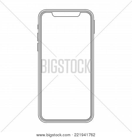 Outline drawing modern smartphone. Elegant thin line style design. Smartphone line outline style vector illustration, simple mobile phone sketch line art icon isolated on white background