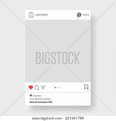 Social network photo frame vector illustration. Social network post. Frame for your photo. Vector template. Vector template with avatar, likes and place for message, post on social networks
