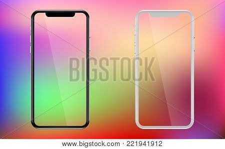 Phone, mobile, smartphone mockup isolated on trend gradient background with transparent screen. Front view realistic vector illustration phone with white and black color.