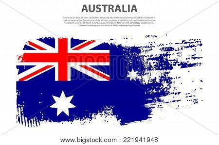 Flag of Australia, brush stroke background Vector graphics illustration. national holiday Australia Day on January 26 for the graphic design.
