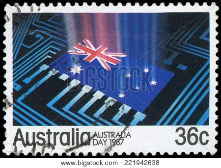 AUSTRALIA - CIRCA 1987:A Cancelled postage stamp from Australia illustrating Australia Day, issued in 1987.
