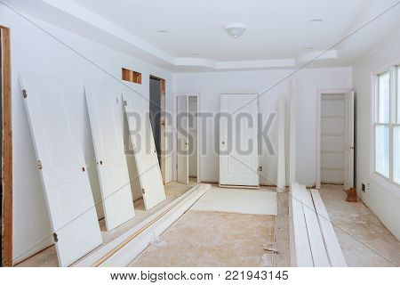 Interior construction of housing Construction building industry new home construction interior drywall tape. Building construction gypsum plaster walls