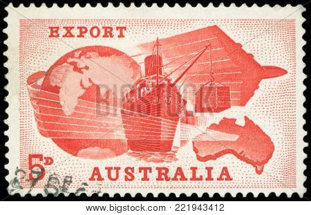 AUSTRALIA - CIRCA 1963: A stamp printed in Australia, is dedicated Importance of exports to Australian economy, is shown Globe, Ship, Plane and Map of Australia, circa 1963