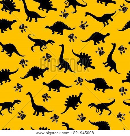 Cute Kids Dinosaurs Pattern For Girls And Boys. Colorful Dinosaurs On The Abstract Grunge Background