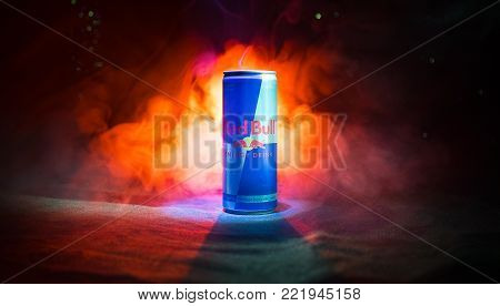 Baku, Azerbaijan - January 13, 2018: Red Bull Classic 250 Ml Can On Dark Toned Foggy Background.