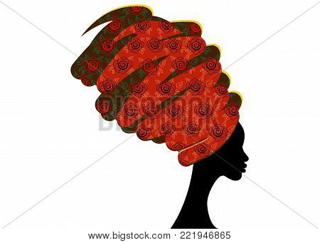 portrait beautiful African woman in traditional turban, Kente head wrap African, Traditional dashiki printing, black women vector silhouette isolated
