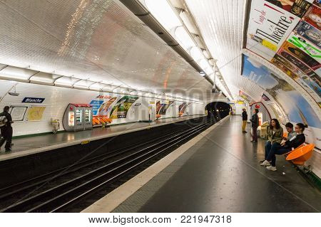 Paris Metro platform. Subway station Blanche. It is the one of the largest underground system in the world. Paris, France, October 04, 2014.