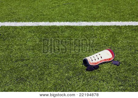 Shin pad on the pitch