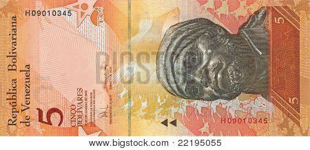Five Bolivar Bill Of Venezuela