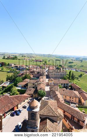 Barbaresco town aerial view. Vineyards from Langhe region,Italy agriculture. Unesco world heritage site