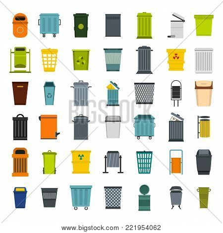 Garbage can icon set. Flat set of garbage can vector icons for web design isolated on white background