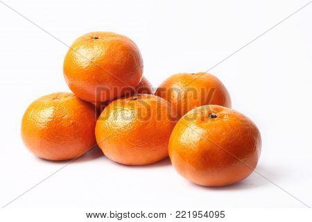 Mandarin-Honey Murcott oranges  on white background,Golden orange to celebrate the Chinese festival.