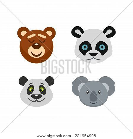 Bear head icon set. Flat set of bear head vector icons for web design isolated on white background