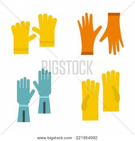 Work gloves icon set. Flat set of work gloves vector icons for web design isolated on white background